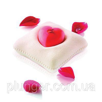 Силіконова форма для муссових тортів Серце на подушечці, форма для євродесертів