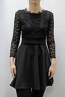 Гипюровое черное платье с кружевом