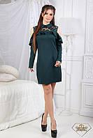 Короткое платье с воланам и рубашечным воротником