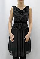 Платье миди с бархатным верхом и шифоновой юбкой