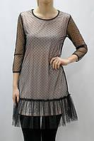 Платье мини с сеткой горох