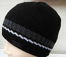 Мужская вязаная шапка на махре-серая