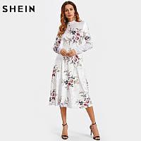 Шикарное бархатное платье в цветочный принт