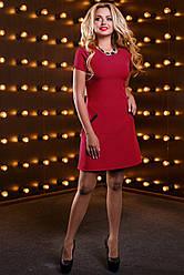Стильное женское платье с кружевом, костюмная ткань, красное, размер 44, 46, 48, 50