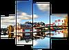 Модульная картина с часами Город. Мост 126*93 см