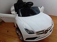 Детский электромобиль Mersedec SX2929, с КОЖАНЫМ сиденьем, EVA Резина, дитячий електромобіль, белый
