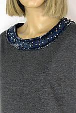 сіра трикотажна cукня з джинсовими вставками  і шипами , фото 3