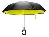Зонтик антиветровой с обратным механизмом KCASA UB-1 (желтый) Новое, желто-черный, фото 1