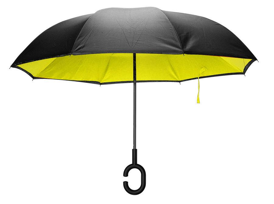 Зонтик антиветровой с обратным механизмом KCASA UB-1 (желтый) Новое, желто-черный