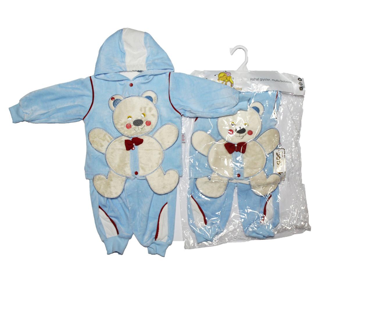 Велюровый костюм тройка для мальчика. Bobisko 1196