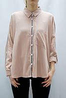 Женская свободная (over-size) рубашка розовая