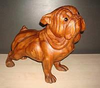 Статуэтка деревянная Собака Мопс