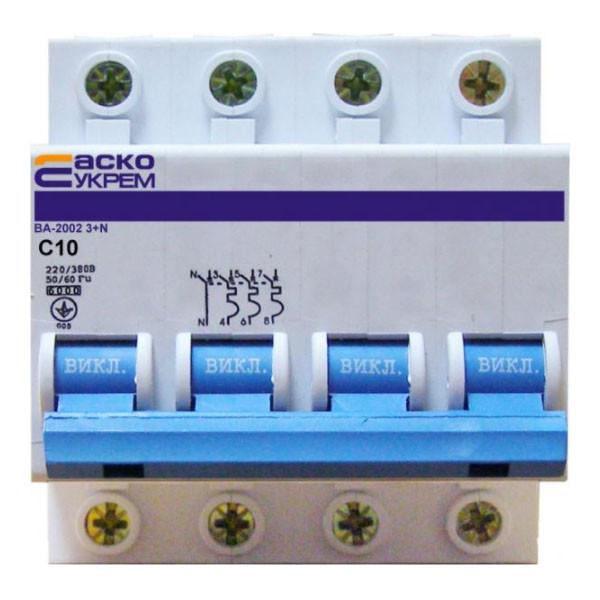 Автоматические выключатели УкрЕМ ВА-2002 4р 10А (3+N)