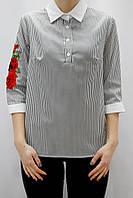 Женская полосатая рубашка с вышивкой на рукаве