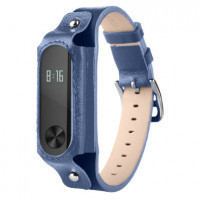 Ремешок для браслета Xiaomi Mi Band 2 (Genuine leather Dark_Blue)