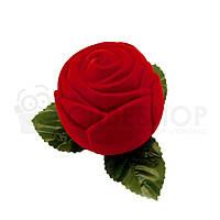 """Футляр бархатный для кольца """"Роза большая"""" красный"""