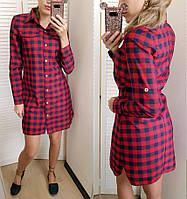 Платье рубашка клетка в расцветках 24078, фото 1