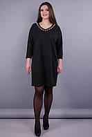 Берта. Оригинальное платье больших размеров для женщин. Бутылка. 58 60 62 64 серый графит