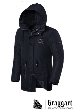 "Мужская черная зимняя куртка с капюшоном Braggart ""Black Diamond""  (р. 46-56) арт. 4862 F, фото 2"