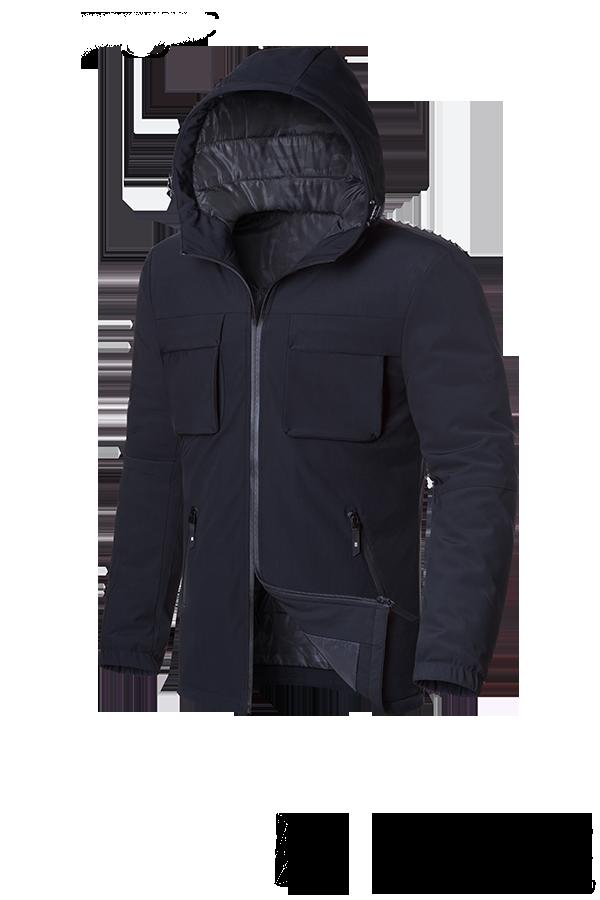 "Черная мужская зимняя куртка с капюшоном Braggart ""Black Diamond""  (р. 46-54) арт. 4752 F"