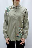 Женская свободная рубашка с вышивкой