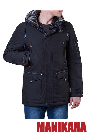 Теплая мужская черная куртка MANIKANA (р. 48-56) арт. 17191 D, фото 2
