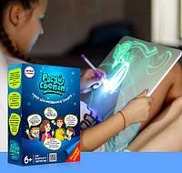 Рисуй светом! Детский интерактивный набор для рисования в темноте. Размер A4. Лучшая Цена! Хит 2018!
