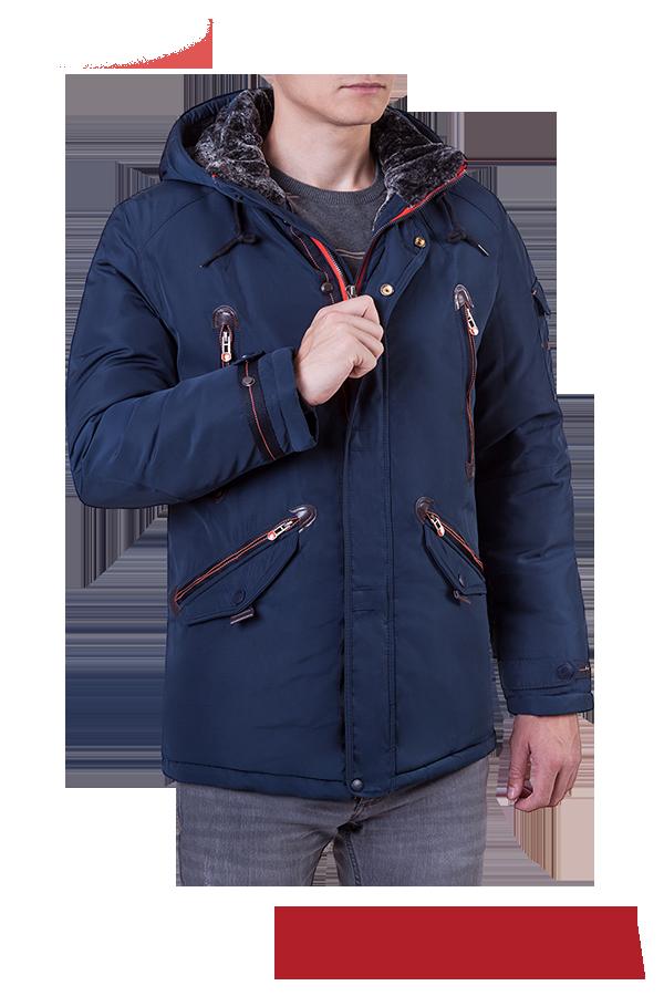Мужская теплая синяя куртка с капюшоном MANIKANA (р. 46-56) арт. 17175 В