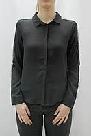 Женская черная свободная рубашка