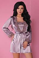 Комплект для дома атласный Jacqueline Violet (халат, сорочка, трусики) от Livia Corsetti Супер цена!