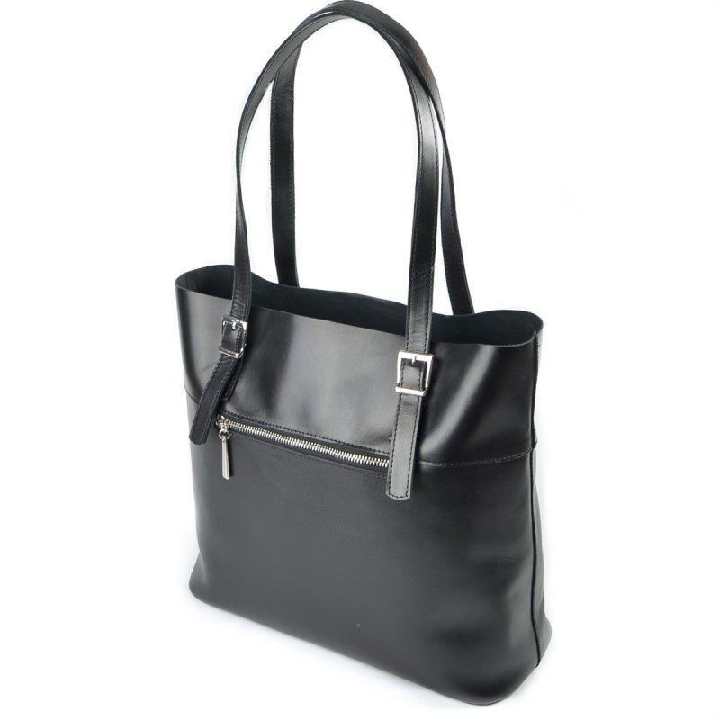 6f78343ee940 Черная кожаная сумка женская с длинными ручками - Интернет магазин сумок  SUMKOFF - женские и мужские