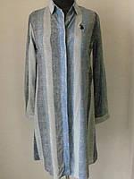Рубашка туника из мягкой натуральной ткани штапель, вертикальная полоска, три цвета р.46,48 код 1582М