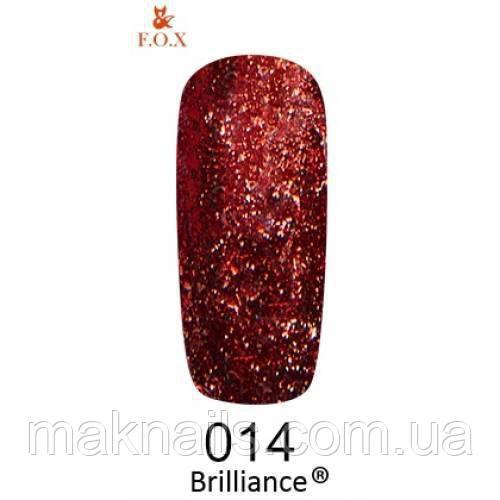 Гель-лак F. O. X. gold Brilliance № 014, мідно-червоний
