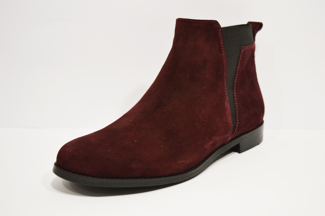 Ботинки замшевые бордо WindRose