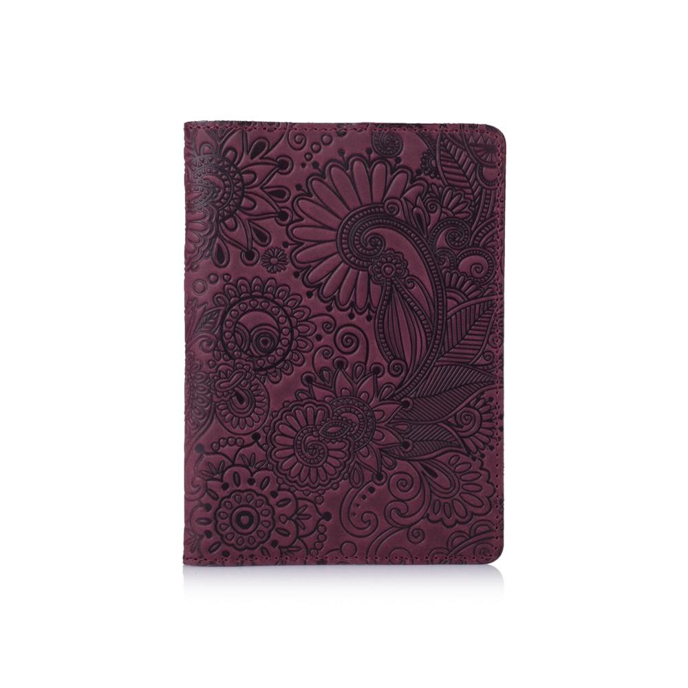 """Фиолетовая дизайнерская кожаная обложка для паспорта, коллекция """"Mehendi Art"""""""