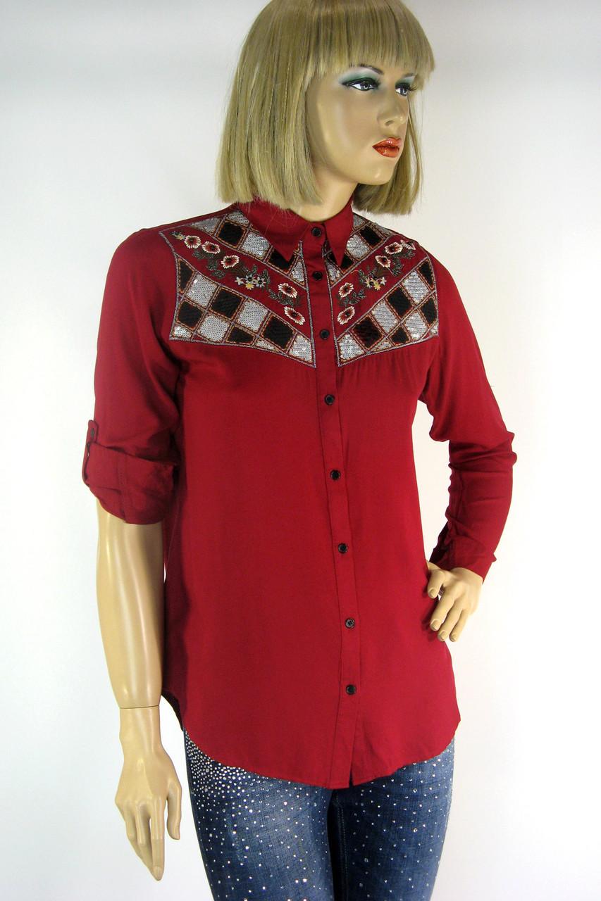 Жіноча сорочка вишита  бісером і паєтками Saloon 181