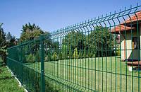 Парканні секції з зварної сітки з вигином Заграда Еко з полімерним покриттям, діаметр прута 3х4 мм. 1260мм.