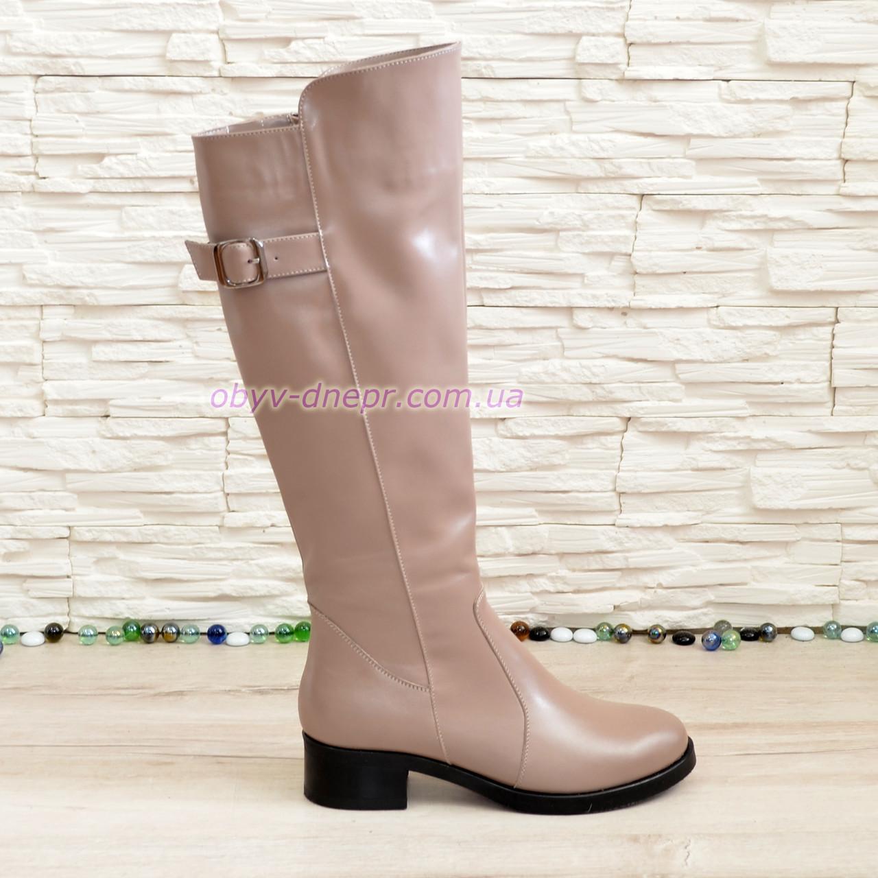 04292f12 Сапоги женские демисезонные кожаные на невысоком устойчивом каблуке, цвет  визон.