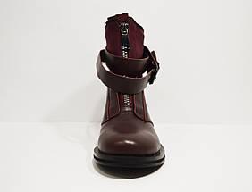 Ботинки женские с ремешками бордовые Fabio Monelli, фото 3