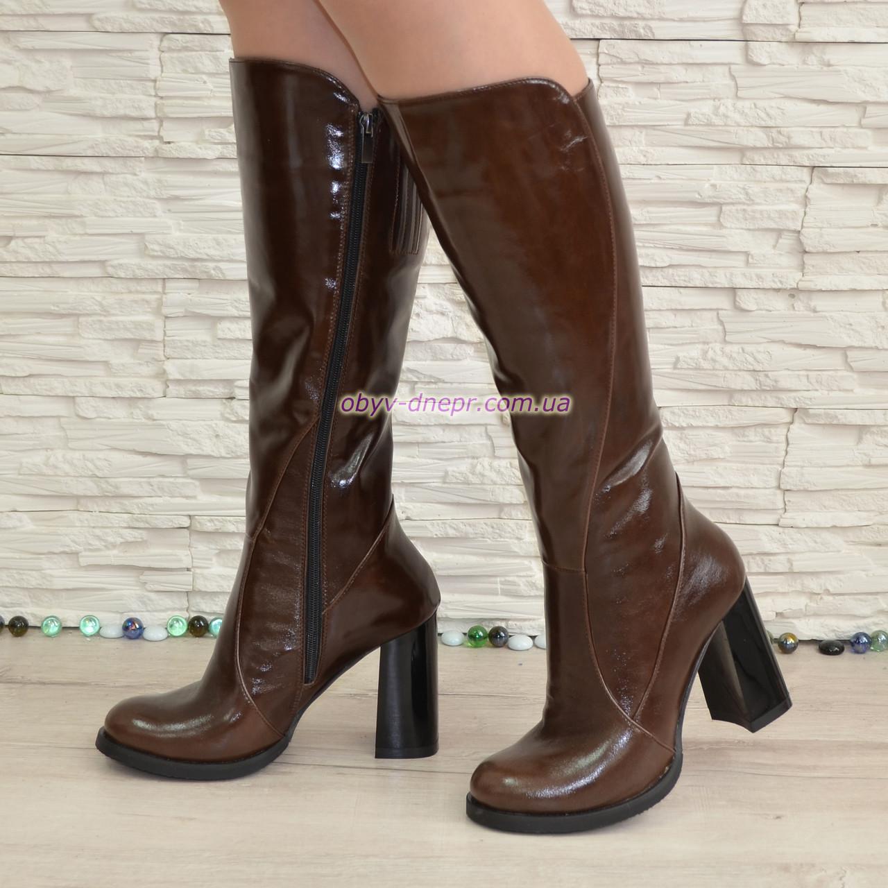 b4250e4b6145 Сапоги женские кожаные демисезонные на высоком устойчивом каблуке, цвет  коричневый.
