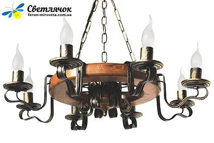 Деревянная люстра Колесо Кольцо на 8 ламп, фото 2