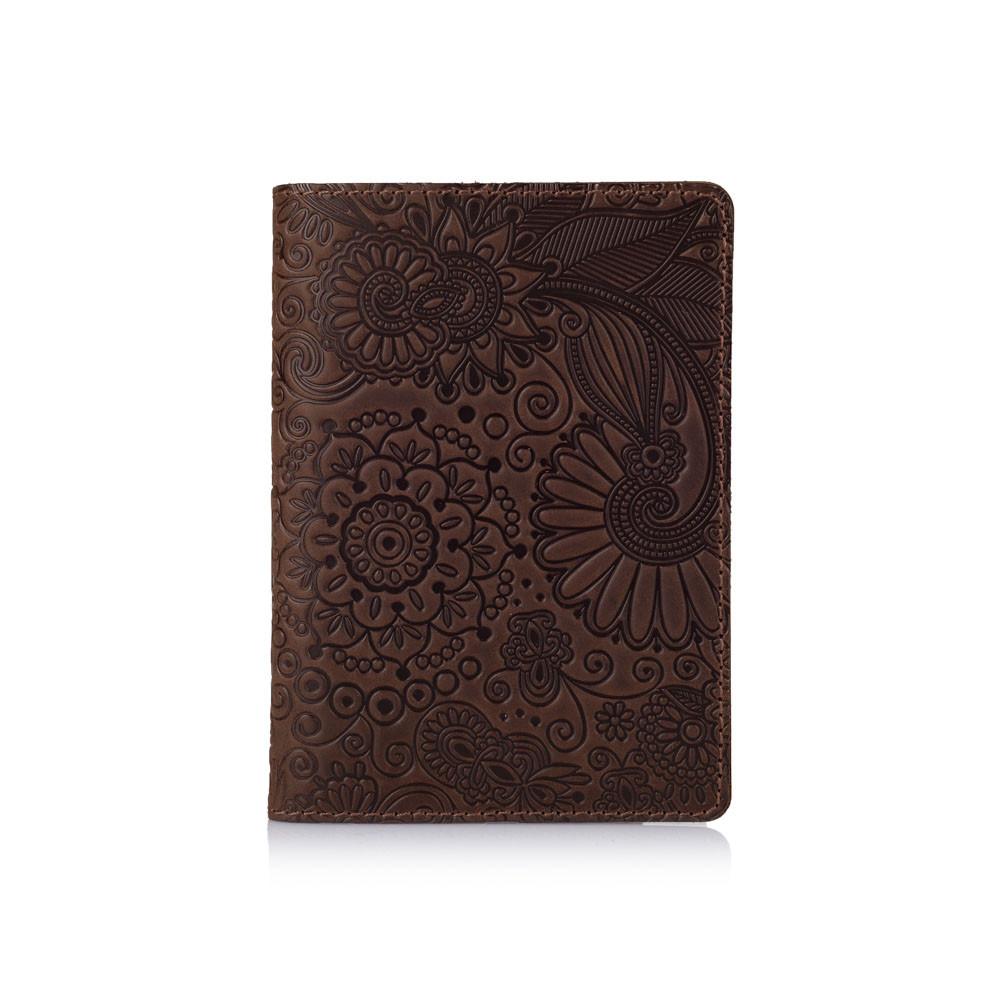 """Оригинальная кожаная коричневая обложка для паспорта с художественным тиснением """"Mehendi Art"""""""