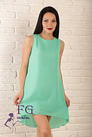Летнее платье свободного кроя удлиненное сзади