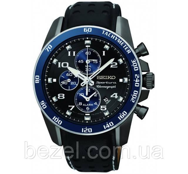 Мужские часы Seiko Sportura Chronograph Black Dial-SNAF37P1