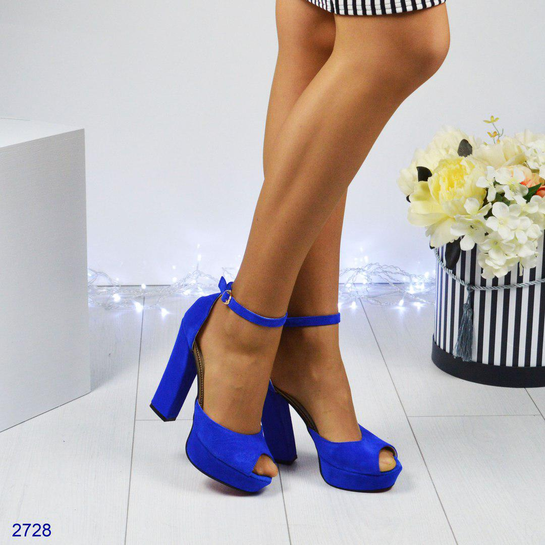 acdac0606 Женские туфли на платформе с открытым носком,электрик.Натуральная замша. -  *МОДНЫЙ