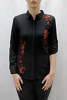 Женская черная свободная рубашка с вышивкой