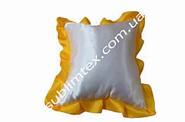 Подушка атласная,натуральный наполнитель,метод печати сублимация,размер 35х35см,цвет Рюши желтый