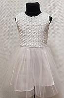 Детское нарядное белое платье Розочка сатин и фатин 104, 110, 116, 122см