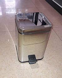 Ведро для мусора квадратное с педалью 6 л хром
