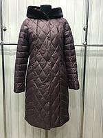 Пальто зимнее  удлиненное, больших размеров ,воротник  искусственный мех .